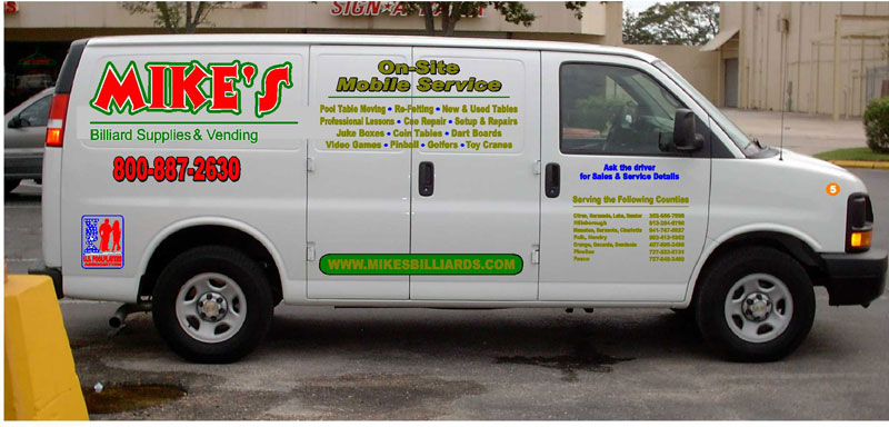 This 2006 Chev van is one of 5 service vehicles that is specially used to service pool table and billiard tables all over the 85 Counties in Georgia that Mike's Billiard Supplies and Crating provides recover, re-rubber and crating service to